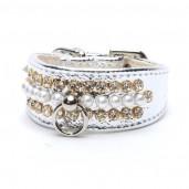 Luxusní obojek s perlami stříbrný