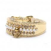 Luxusní obojek s perlami zlatý